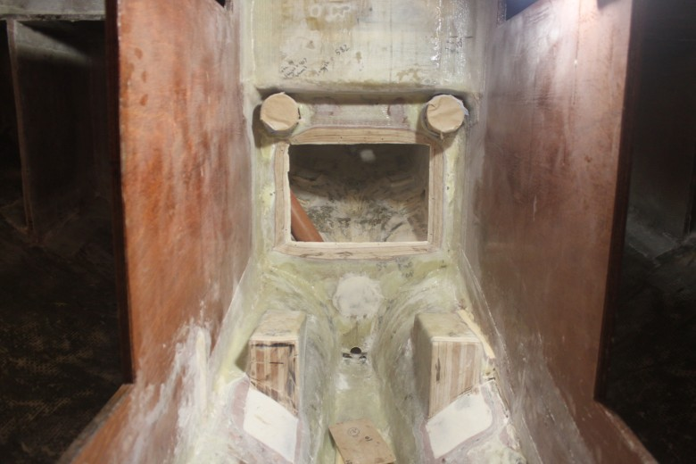 Now that no engine will be used, the previously installed engine mounts have been cut back and this area will be converted into battery storage.  The cockpit bulkhead will be scarfed closed, creating the below cockpit locker as a water-tight compartment.