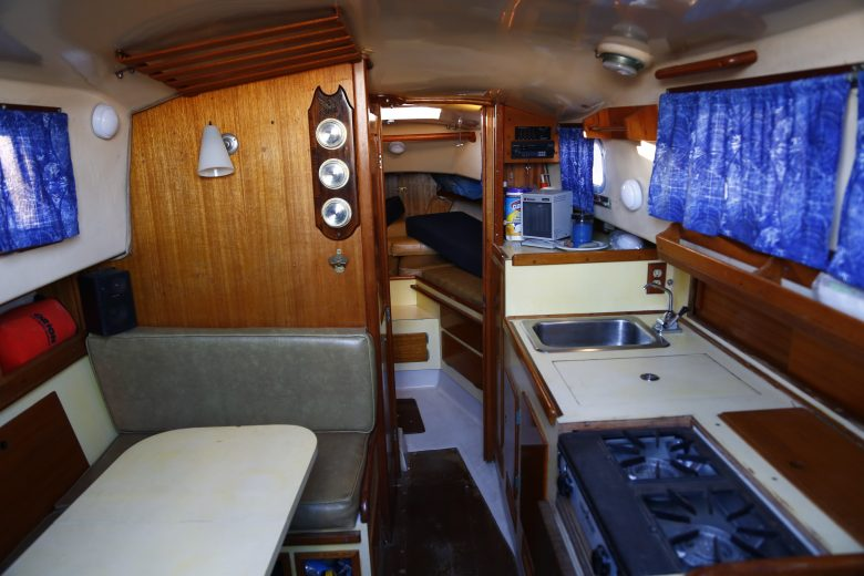 Windspell is a weekender model. This image shows the interior of this Bristol 27 weekender model, looking forward.
