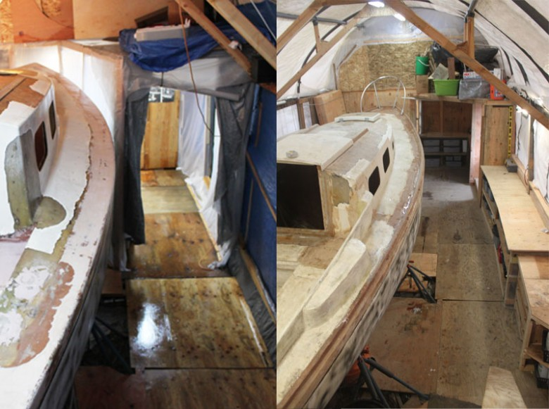 Image comparing the boat area re-design.  The old is on the left, new on the right.  Note how much more space around the boat there is.
