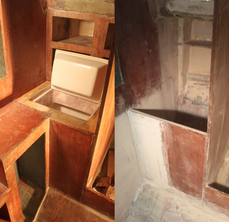 The icebox has been demolished and will be replaced with a hanging locker and a portable, 12v icebox.  The image on the left shows the old icebox; on the right shows the area demolished and ready for it's new hanging locker design.