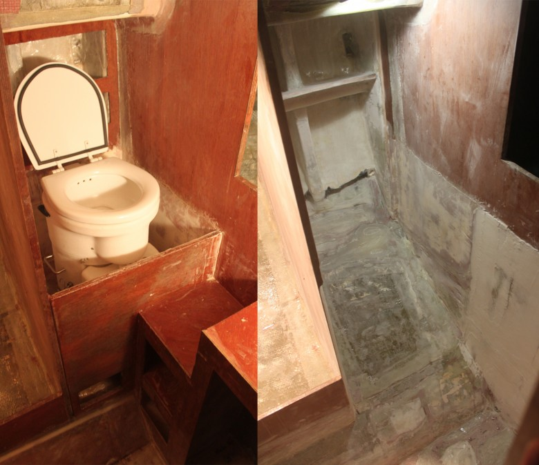 The old head area is on the left and it was never too comfortable.  The image on the right shows the area opened up, a sole will be installed that allows the head to sit lower in the boat and more amidship. This area will all drain into the sump, then bilge.