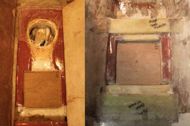 The image on the left shows the access hatches to the old sump tank and bilge tank.  Image on the right shows the sump tank demolished, and the access hatch to the bilge tank being installed.