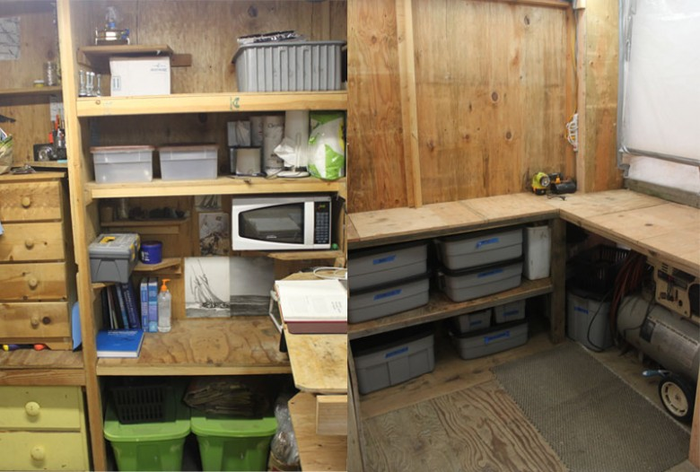 Varnish room with extra wide bench and room for larger air compressor.